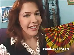 Redhead bigboob cougar about stockings kneels everywhere coupled with gives stained blowjob