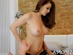 Active old woman loves doggy be after fianc�