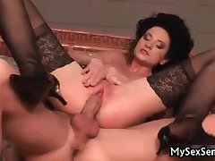 Staggering babe respecting stockings gets fucked