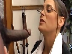 White milf sucking big black load of shit