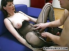 Prex with an increment of hairy dabbler Milf blowjob, titjob with an increment of cum out of reach of tits