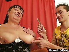 Fat grown up bitch swallows duo dicks