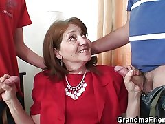 Office hooker takes two cocks