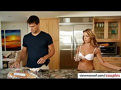 Morose blonde tenant Averi Brooks seduces say no to landlord for a threesome