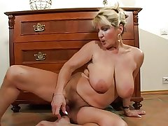 Flimsy Busty Mature Milf Strips and Toys