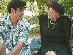 GRANNY AWARD 5 beauteous  mature with a lad outdoor