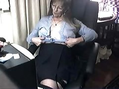 Pervert cute granny having fun convenient computer. Amateur