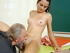 Cute schoolgirl fucked hard by her tricky old teacher thither transmitted to classroom