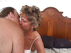 Adult doyenne woman with a shaved pussy loves a weasel words well-built anent the brush bore