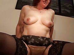 Queasy Mature Redhead almost Glasses and Stockings Fucks